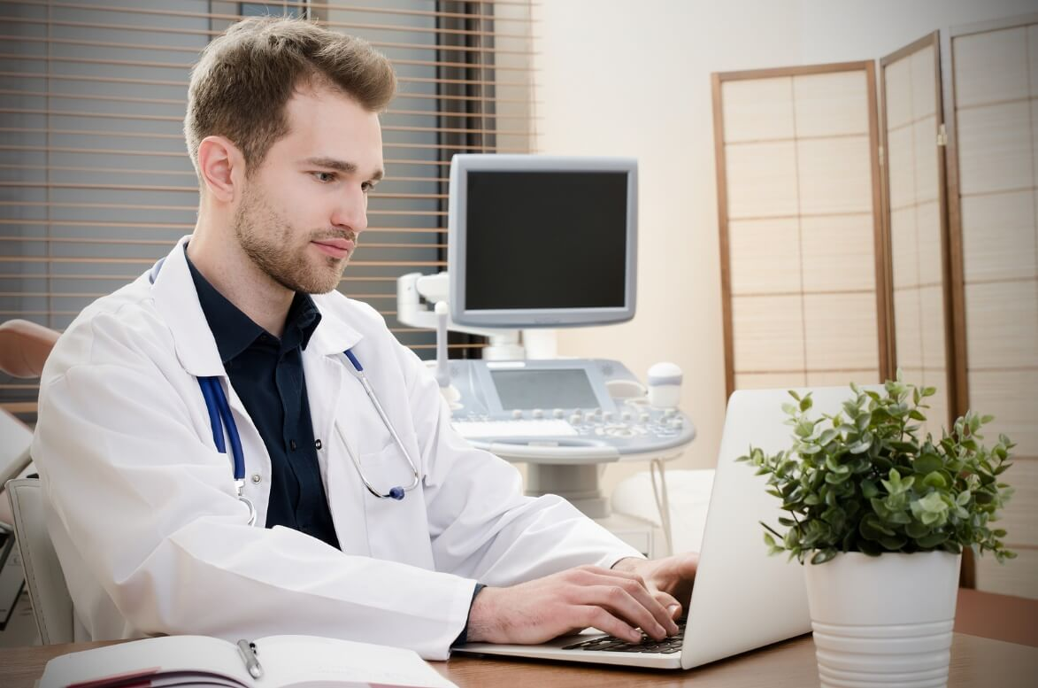 Health care doctor working with computer
