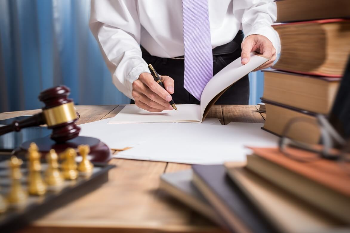 Lawyer Business Man Working With Paperwork On His Desk