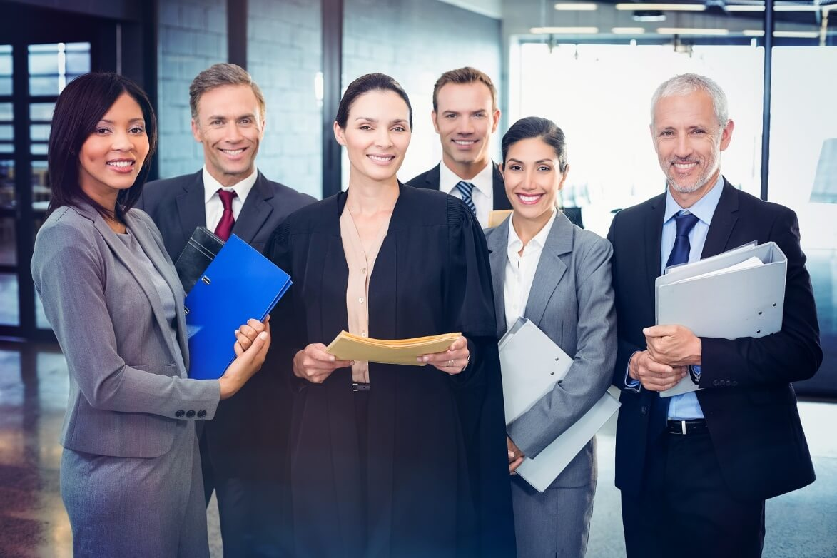 Portrait of business people standing