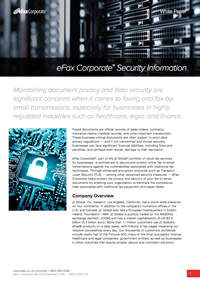 eFax Corporate Security Statement